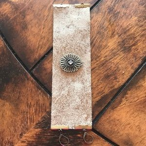 Handmade leather and medallion cuff style bracelet